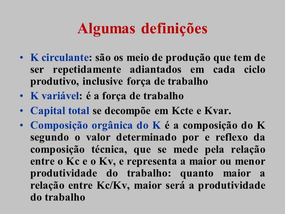 K circulante: são os meio de produção que tem de ser repetidamente adiantados em cada ciclo produtivo, inclusive força de trabalho K variável: é a for