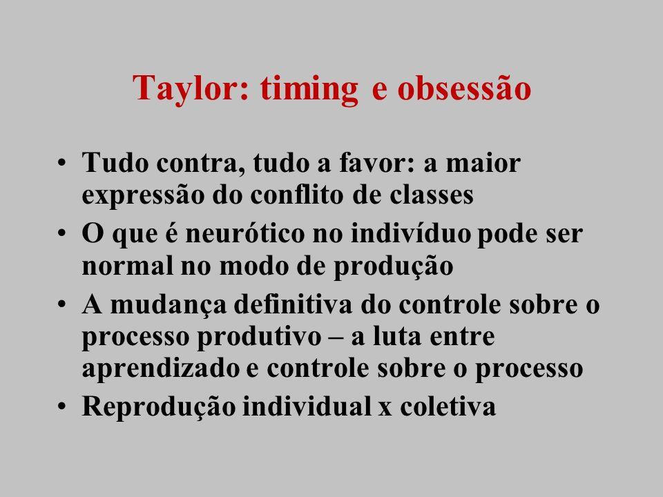 Taylor: timing e obsessão Tudo contra, tudo a favor: a maior expressão do conflito de classes O que é neurótico no indivíduo pode ser normal no modo d