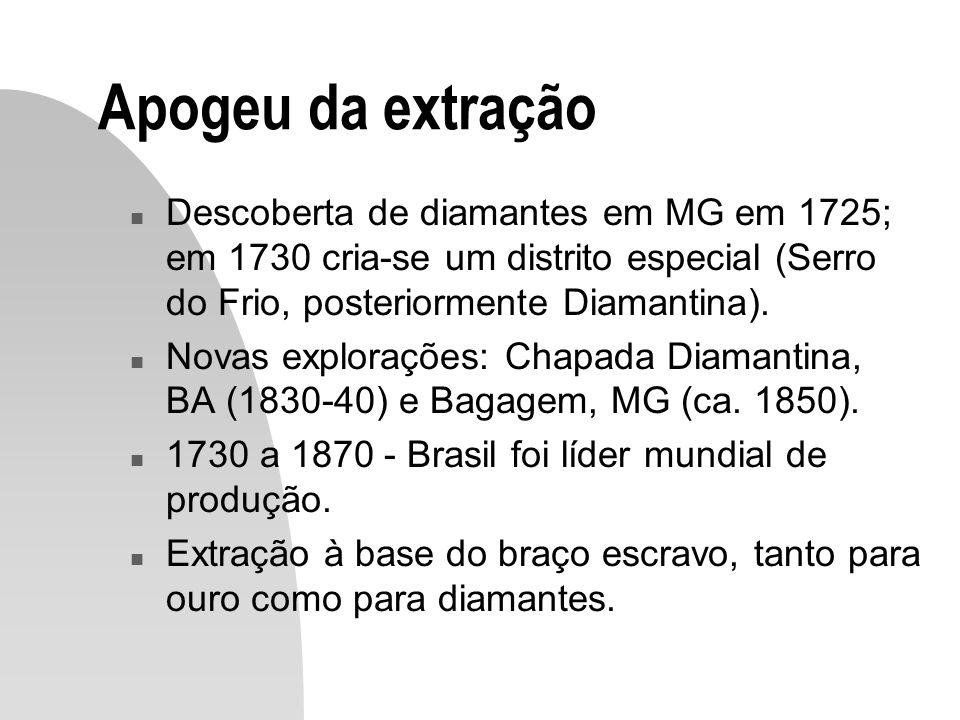 Apogeu da extração n Descoberta de diamantes em MG em 1725; em 1730 cria-se um distrito especial (Serro do Frio, posteriormente Diamantina). n Novas e