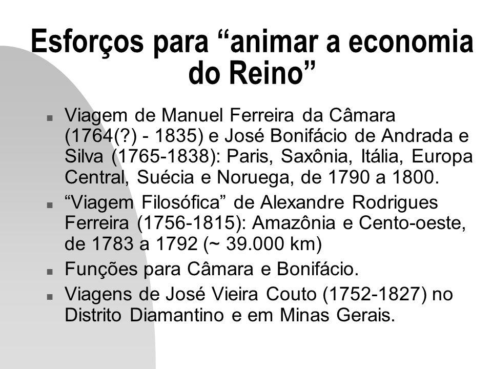 A transferência da Corte em 1808 n Necessidade de criação da infra-estrutura no Brasil (instituições, obras civis e defesa).