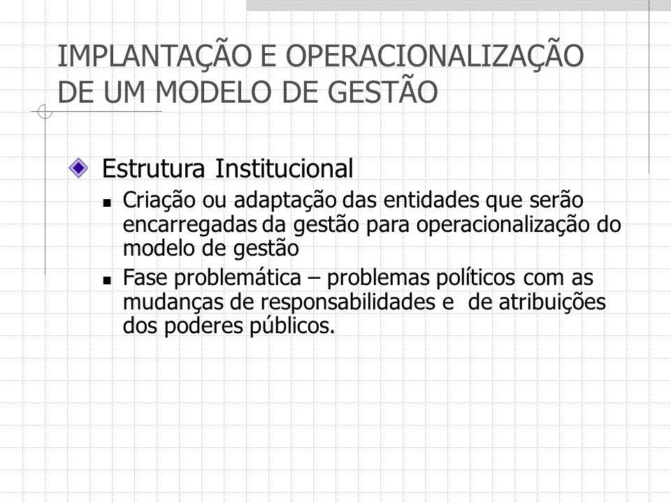 IMPLANTAÇÃO E OPERACIONALIZAÇÃO DE UM MODELO DE GESTÃO Estrutura Institucional Criação ou adaptação das entidades que serão encarregadas da gestão par