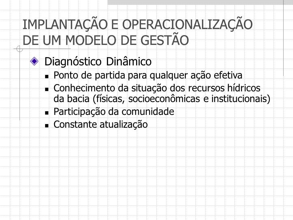 IMPLANTAÇÃO E OPERACIONALIZAÇÃO DE UM MODELO DE GESTÃO Diagnóstico Dinâmico Ponto de partida para qualquer ação efetiva Conhecimento da situação dos r