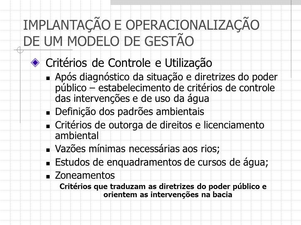 IMPLANTAÇÃO E OPERACIONALIZAÇÃO DE UM MODELO DE GESTÃO Critérios de Controle e Utilização Após diagnóstico da situação e diretrizes do poder público –