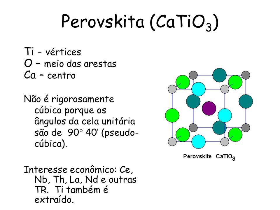 Perovskita (CaTiO 3 ) Ti - vértices O – meio das arestas Ca – centro Não é rigorosamente cúbico porque os ângulos da cela unitária são de 90° 40 (pseu