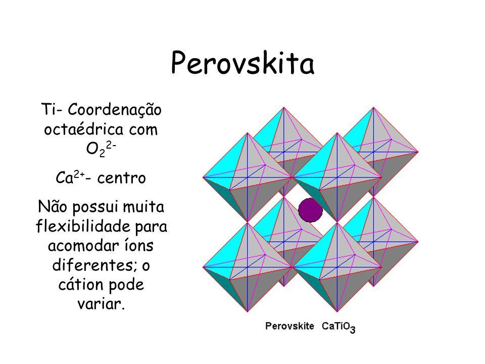 Perovskita Ti- Coordenação octaédrica com O 2 2- Ca 2+ - centro Não possui muita flexibilidade para acomodar íons diferentes; o cátion pode variar.
