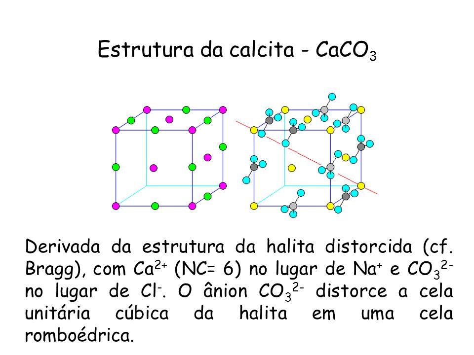 Estrutura da calcita - CaCO 3 Derivada da estrutura da halita distorcida (cf. Bragg), com Ca 2+ (NC= 6) no lugar de Na + e CO 3 2- no lugar de Cl -. O