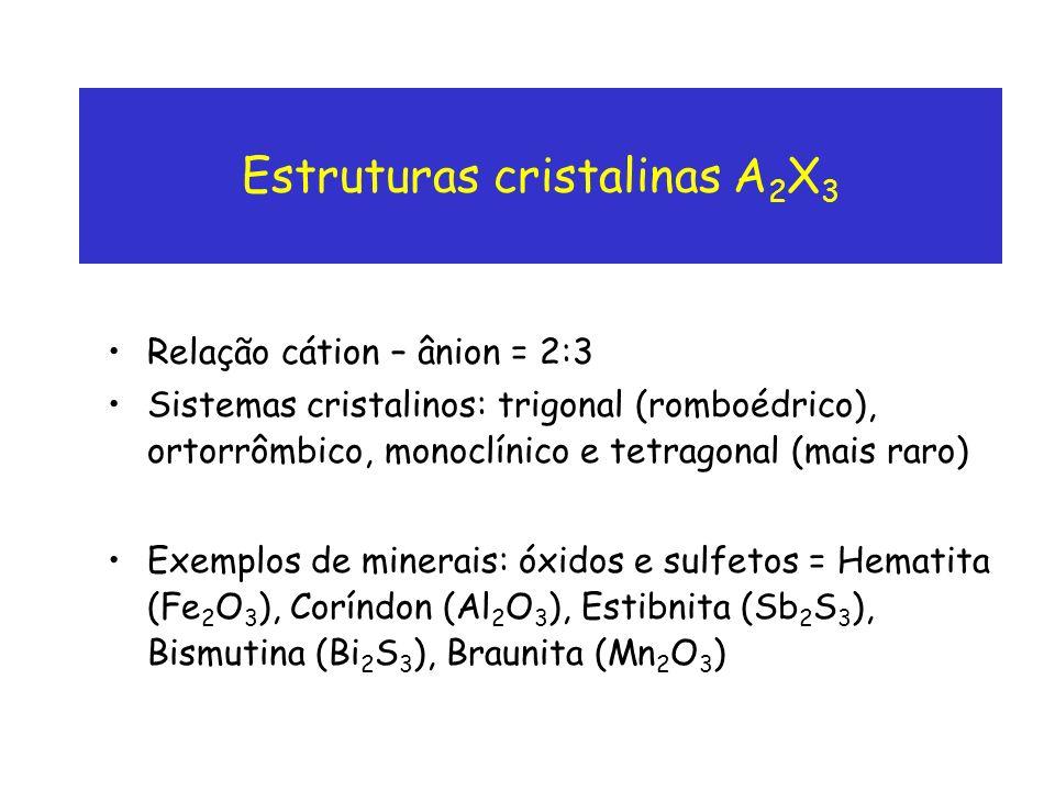 Estruturas cristalinas A 2 X 3 Relação cátion – ânion = 2:3 Sistemas cristalinos: trigonal (romboédrico), ortorrômbico, monoclínico e tetragonal (mais