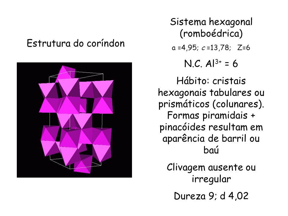 Estrutura do coríndon Sistema hexagonal (romboédrica) a =4,95; c =13,78; Z=6 N.C. Al 3+ = 6 Hábito: cristais hexagonais tabulares ou prismáticos (colu