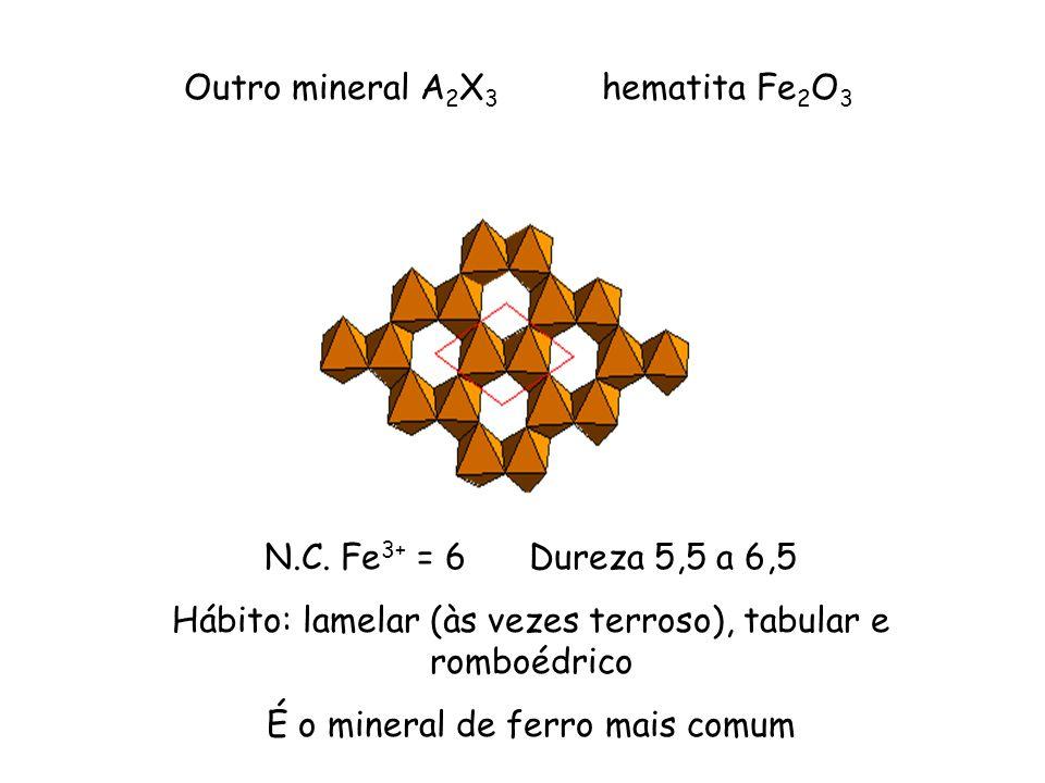 Outro mineral A 2 X 3 hematita Fe 2 O 3 N.C. Fe 3+ = 6 Dureza 5,5 a 6,5 Hábito: lamelar (às vezes terroso), tabular e romboédrico É o mineral de ferro