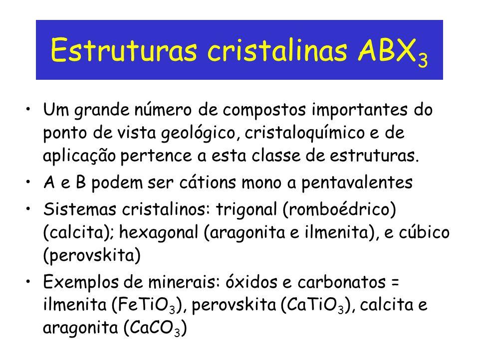 Estruturas cristalinas ABX 3 Um grande número de compostos importantes do ponto de vista geológico, cristaloquímico e de aplicação pertence a esta cla