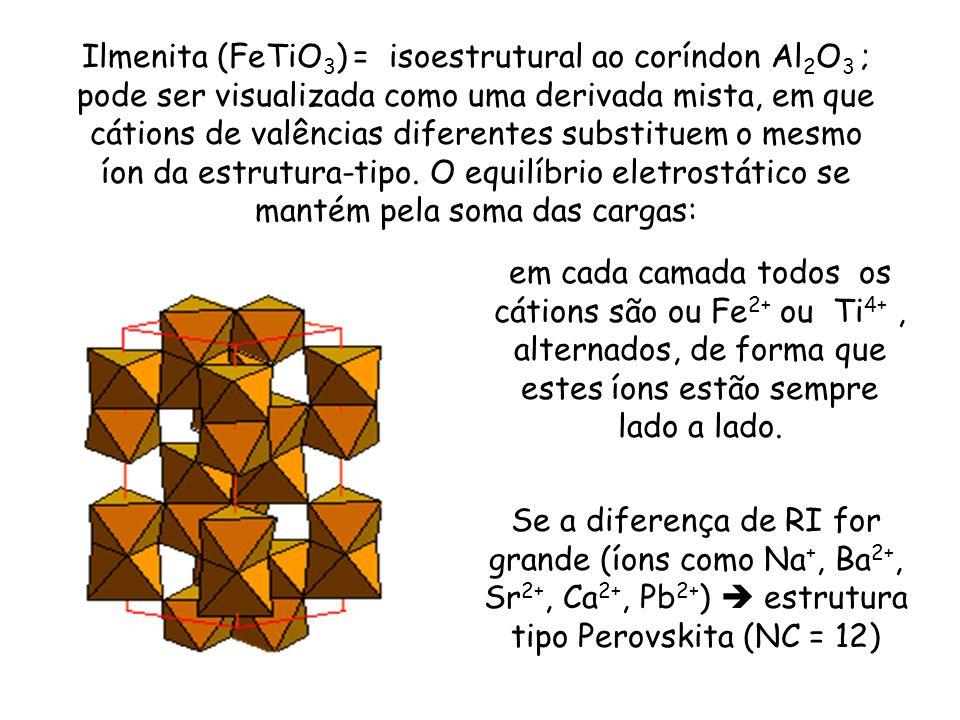Ilmenita (FeTiO 3 ) = isoestrutural ao coríndon Al 2 O 3 ; pode ser visualizada como uma derivada mista, em que cátions de valências diferentes substi