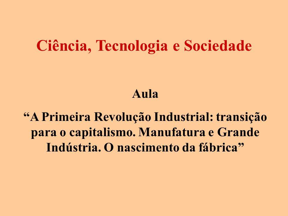 Aula A Primeira Revolução Industrial: transição para o capitalismo. Manufatura e Grande Indústria. O nascimento da fábrica Ciência, Tecnologia e Socie