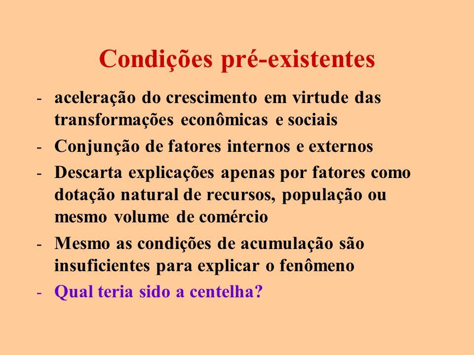 Condições pré-existentes - aceleração do crescimento em virtude das transformações econômicas e sociais - Conjunção de fatores internos e externos - D