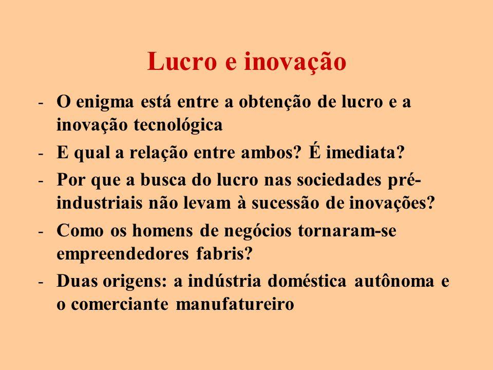 Lucro e inovação - O enigma está entre a obtenção de lucro e a inovação tecnológica - E qual a relação entre ambos? É imediata? - Por que a busca do l