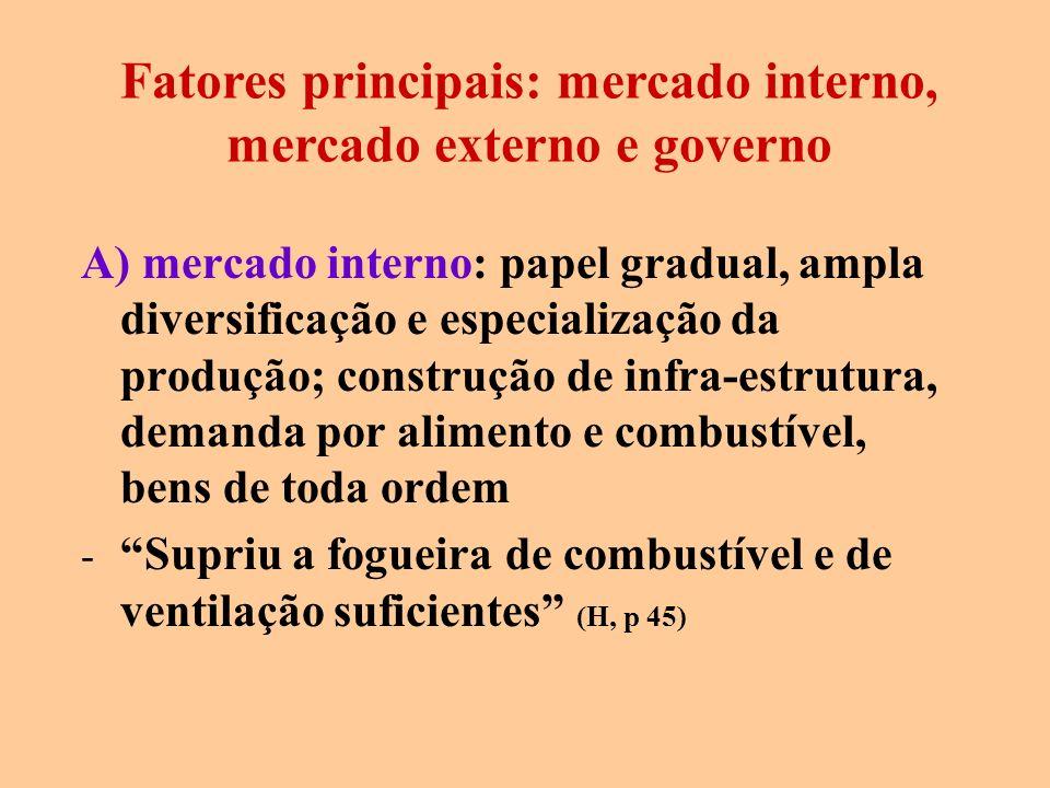 A) mercado interno: papel gradual, ampla diversificação e especialização da produção; construção de infra-estrutura, demanda por alimento e combustíve