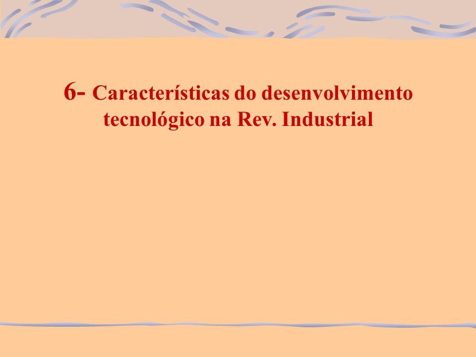 6- Características do desenvolvimento tecnológico na Rev. Industrial