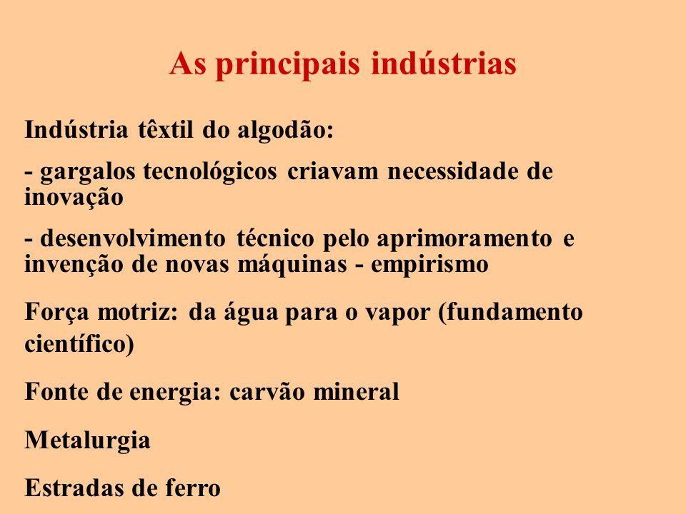 Indústria têxtil do algodão: - gargalos tecnológicos criavam necessidade de inovação - desenvolvimento técnico pelo aprimoramento e invenção de novas