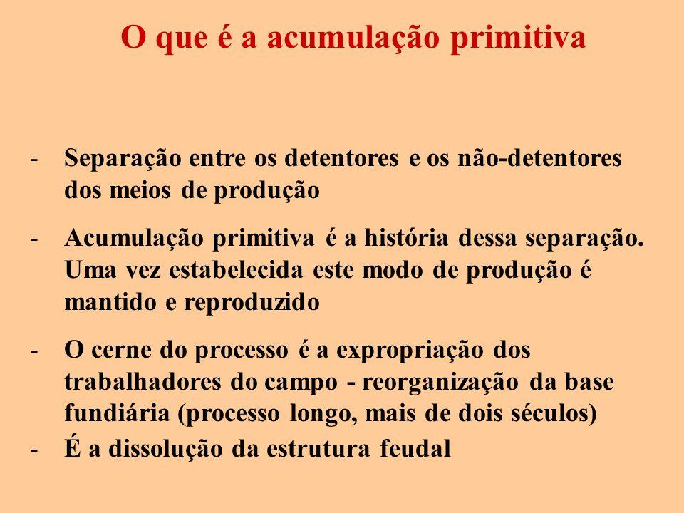 O que é a acumulação primitiva -Separação entre os detentores e os não-detentores dos meios de produção -Acumulação primitiva é a história dessa separ