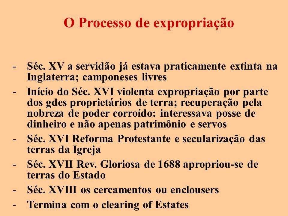 O Processo de expropriação -Séc. XV a servidão já estava praticamente extinta na Inglaterra; camponeses livres -Início do Séc. XVI violenta expropriaç
