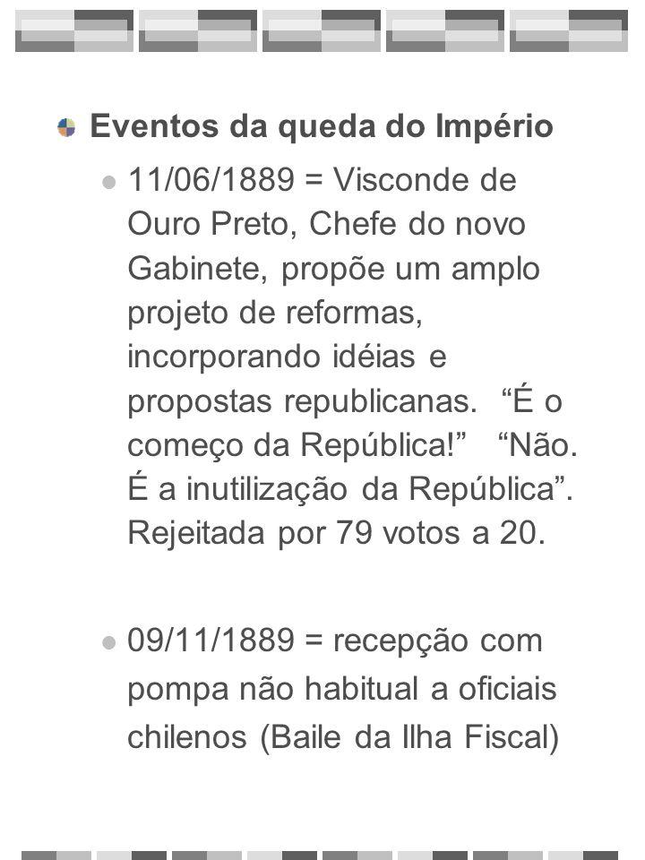 Eventos da queda do Império 11/06/1889 = Visconde de Ouro Preto, Chefe do novo Gabinete, propõe um amplo projeto de reformas, incorporando idéias e pr