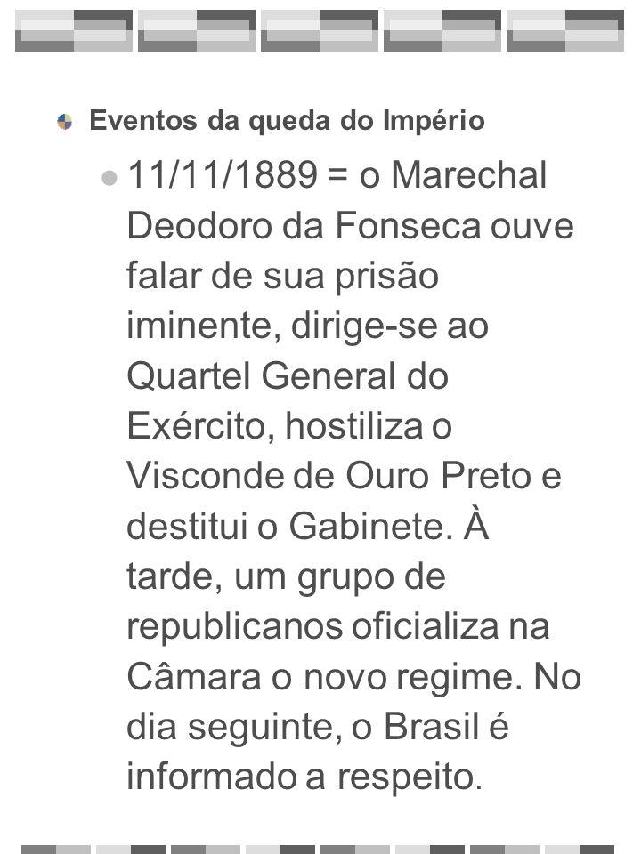 Eventos da queda do Império 11/11/1889 = o Marechal Deodoro da Fonseca ouve falar de sua prisão iminente, dirige-se ao Quartel General do Exército, ho