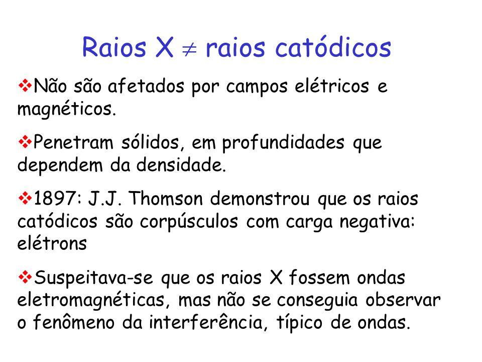 Raios X raios catódicos Não são afetados por campos elétricos e magnéticos. Penetram sólidos, em profundidades que dependem da densidade. 1897: J.J. T