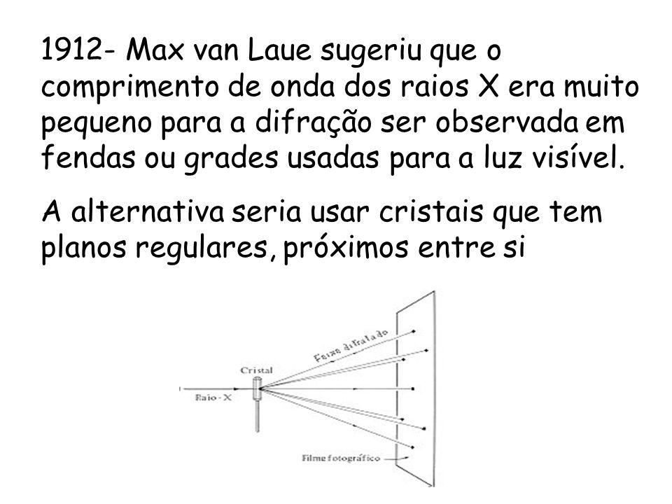 1912- Max van Laue sugeriu que o comprimento de onda dos raios X era muito pequeno para a difração ser observada em fendas ou grades usadas para a luz