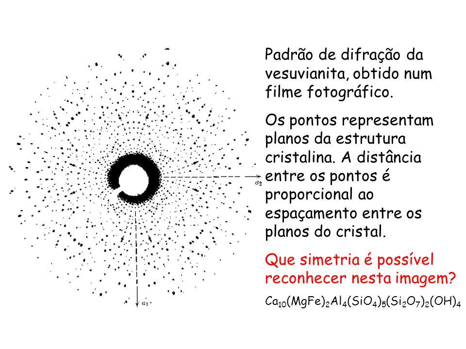 Padrão de difração da vesuvianita, obtido num filme fotográfico. Os pontos representam planos da estrutura cristalina. A distância entre os pontos é p