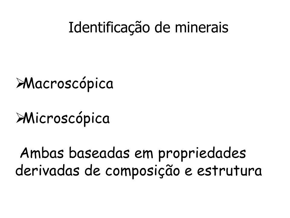 Identificação de minerais Macroscópica Microscópica Ambas baseadas em propriedades derivadas de composição e estrutura