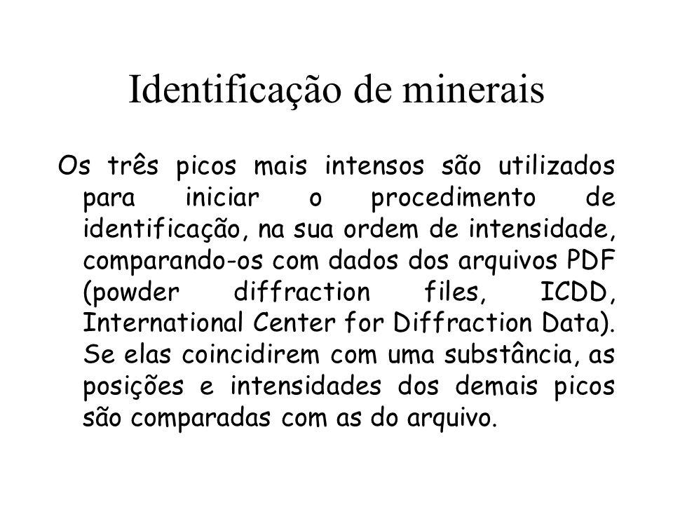 Identificação de minerais Os três picos mais intensos são utilizados para iniciar o procedimento de identificação, na sua ordem de intensidade, compar