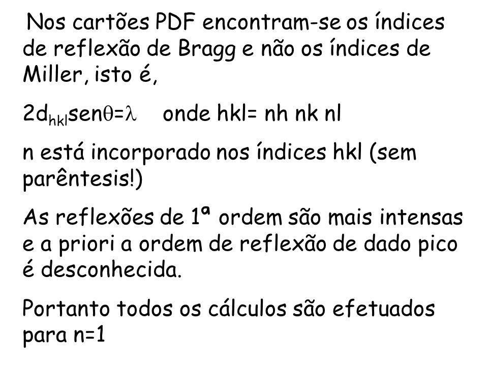 Nos cartões PDF encontram-se os índices de reflexão de Bragg e não os índices de Miller, isto é, 2d hkl sen = onde hkl= nh nk nl n está incorporado no
