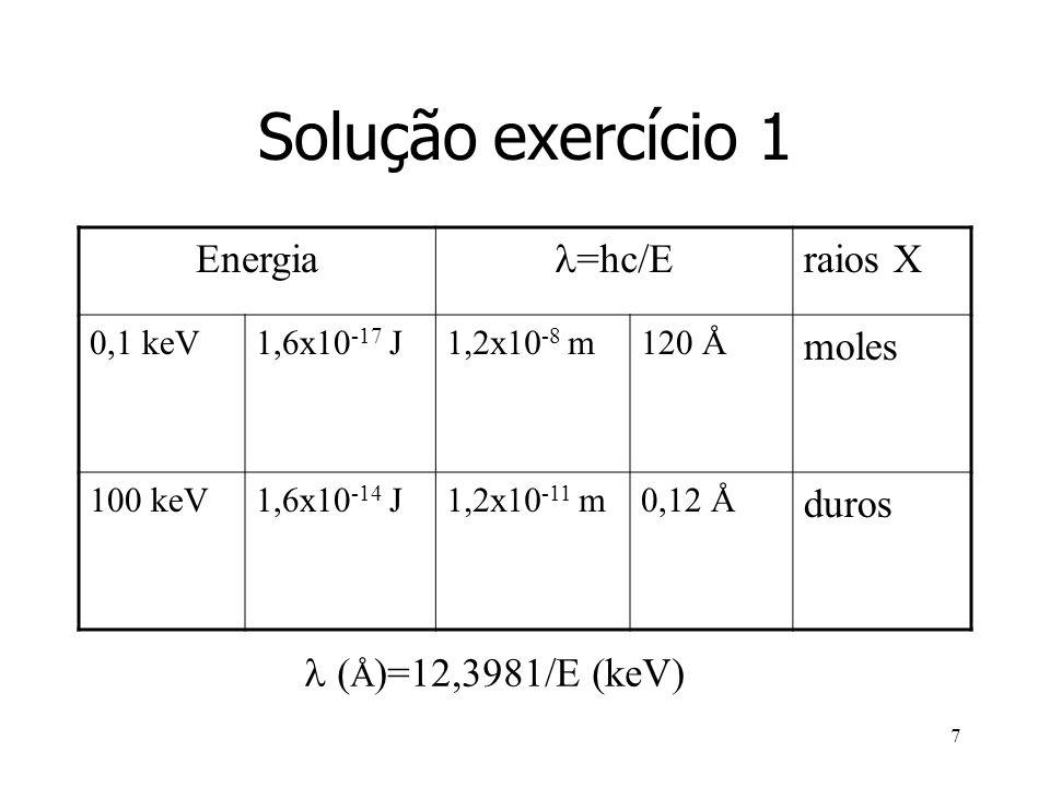 7 Solução exercício 1 Energia =hc/E raios X 0,1 keV1,6x10 -17 J1,2x10 -8 m120 Å moles 100 keV1,6x10 -14 J1,2x10 -11 m0,12 Å duros ( Å )=12,3981/E (keV