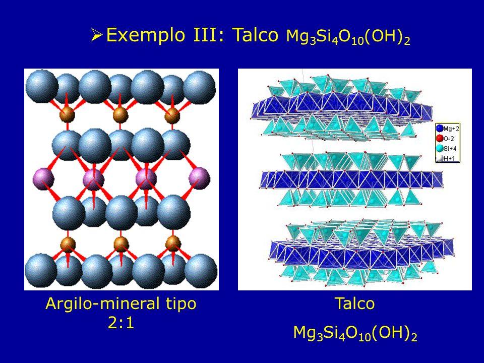 Talco Mg 3 Si 4 O 10 (OH) 2 Argilo-mineral tipo 2:1 Exemplo III: Talco Mg 3 Si 4 O 10 (OH) 2