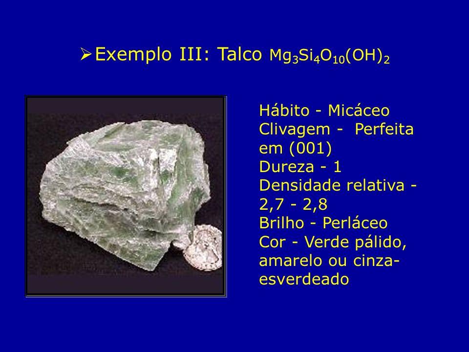 Hábito - Micáceo Clivagem - Perfeita em (001) Dureza - 1 Densidade relativa - 2,7 - 2,8 Brilho - Perláceo Cor - Verde pálido, amarelo ou cinza- esverd