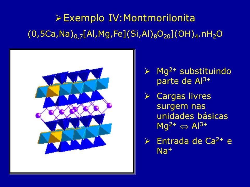 Exemplo IV:Montmorilonita (0,5Ca,Na) 0,7 [Al,Mg,Fe](Si,Al) 8 O 20 ](OH) 4.nH 2 O Mg 2+ substituindo parte de Al 3+ Cargas livres surgem nas unidades b