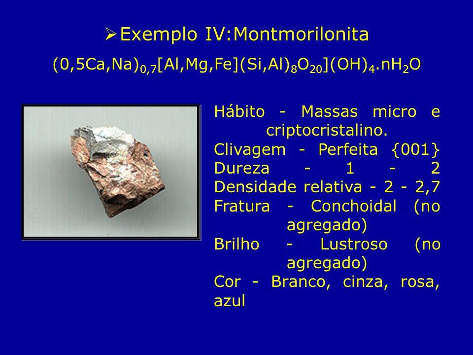 Exemplo IV:Montmorilonita (0,5Ca,Na) 0,7 [Al,Mg,Fe](Si,Al) 8 O 20 ](OH) 4.nH 2 O Hábito - Massas micro e criptocristalino. Clivagem - Perfeita {001} D