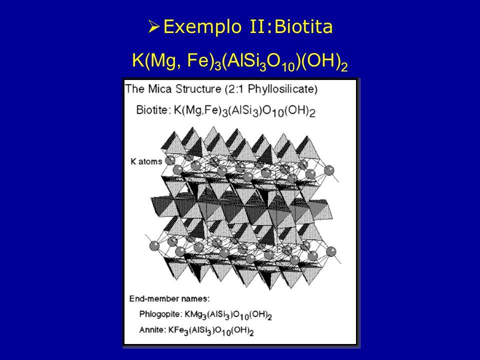 Exemplo II:Biotita K(Mg, Fe) 3 (AlSi 3 O 10 )(OH) 2