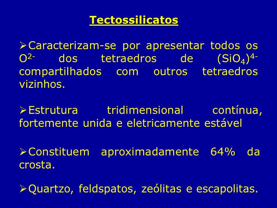 Tectossilicatos Caracterizam-se por apresentar todos os O 2- dos tetraedros de (SiO 4 ) 4- compartilhados com outros tetraedros vizinhos. Estrutura tr
