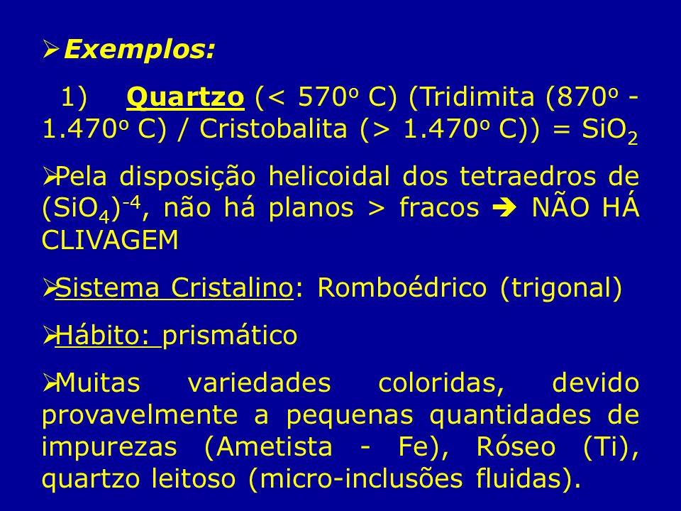 Exemplos: 1) Quartzo ( 1.470 o C)) = SiO 2 Pela disposição helicoidal dos tetraedros de (SiO 4 ) -4, não há planos > fracos NÃO HÁ CLIVAGEM Sistema Cr