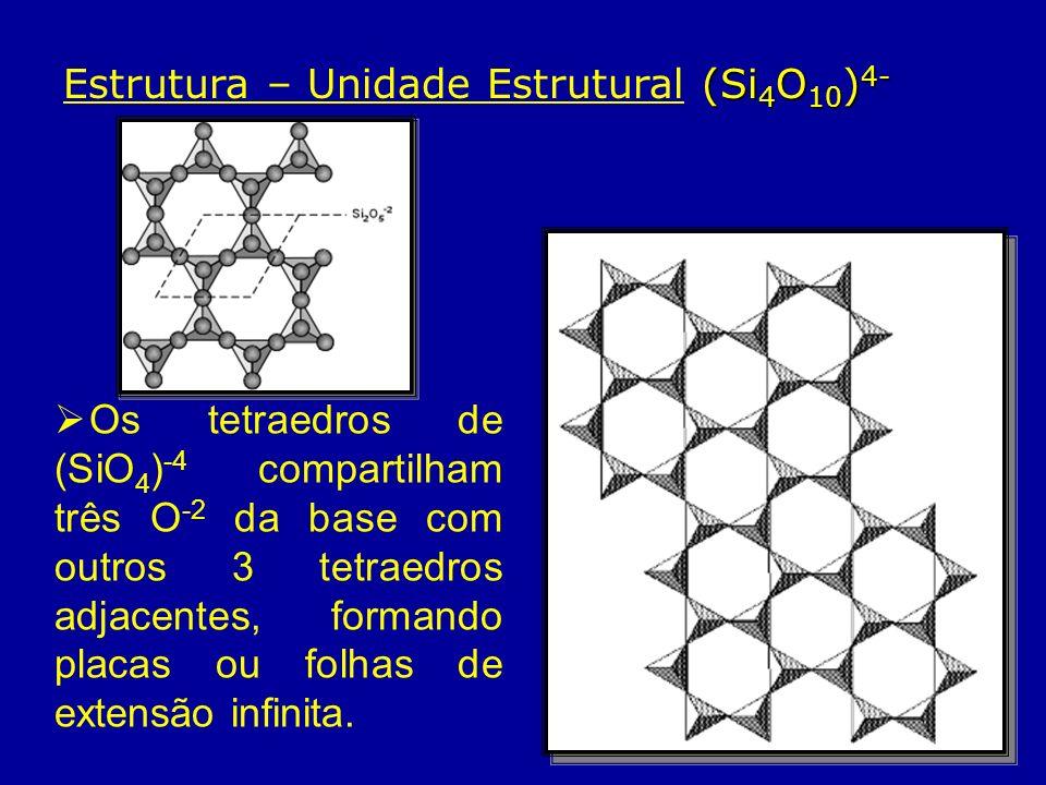 (Si 4 O 10 ) 4- Estrutura – Unidade Estrutural (Si 4 O 10 ) 4- Os tetraedros de (SiO 4 ) -4 compartilham três O -2 da base com outros 3 tetraedros adj