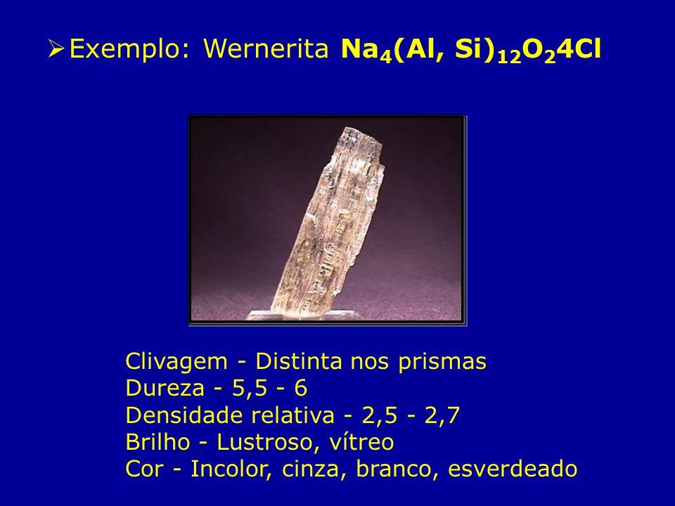 Exemplo: Wernerita Na 4 (Al, Si) 12 O 2 4Cl Clivagem - Distinta nos prismas Dureza - 5,5 - 6 Densidade relativa - 2,5 - 2,7 Brilho - Lustroso, vítreo