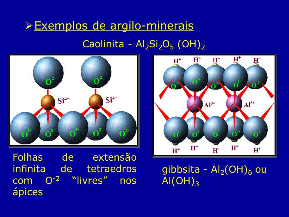Exemplos de argilo-minerais Caolinita - Al 2 Si 2 O 5 (OH) 2 gibbsita - Al 2 (OH) 6 ou Al(OH) 3 Folhas de extensão infinita de tetraedros com O -2 liv