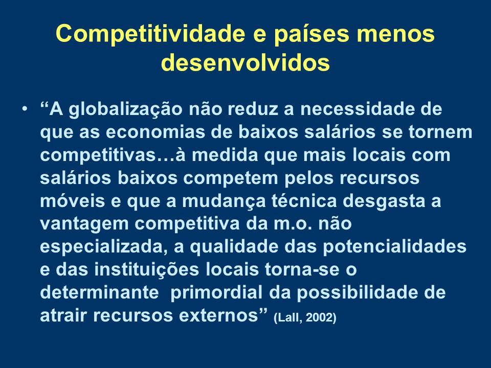 Competitividade e países menos desenvolvidos A globalização não reduz a necessidade de que as economias de baixos salários se tornem competitivas…à me