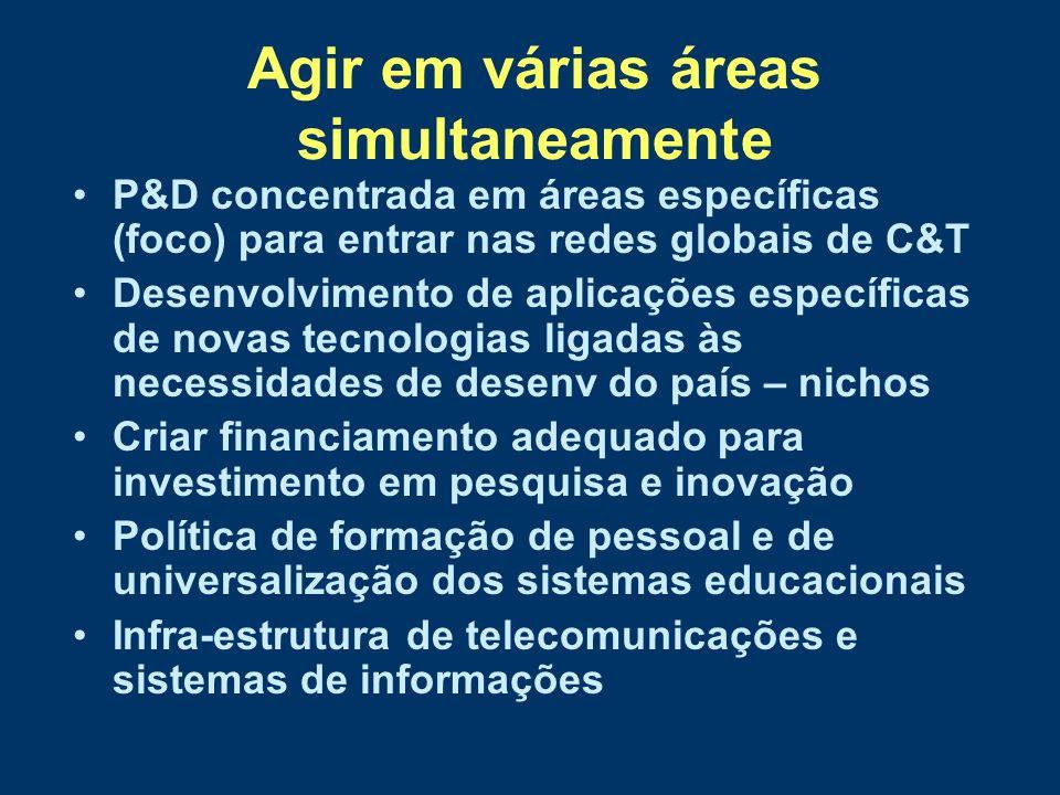 Agir em várias áreas simultaneamente P&D concentrada em áreas específicas (foco) para entrar nas redes globais de C&T Desenvolvimento de aplicações es