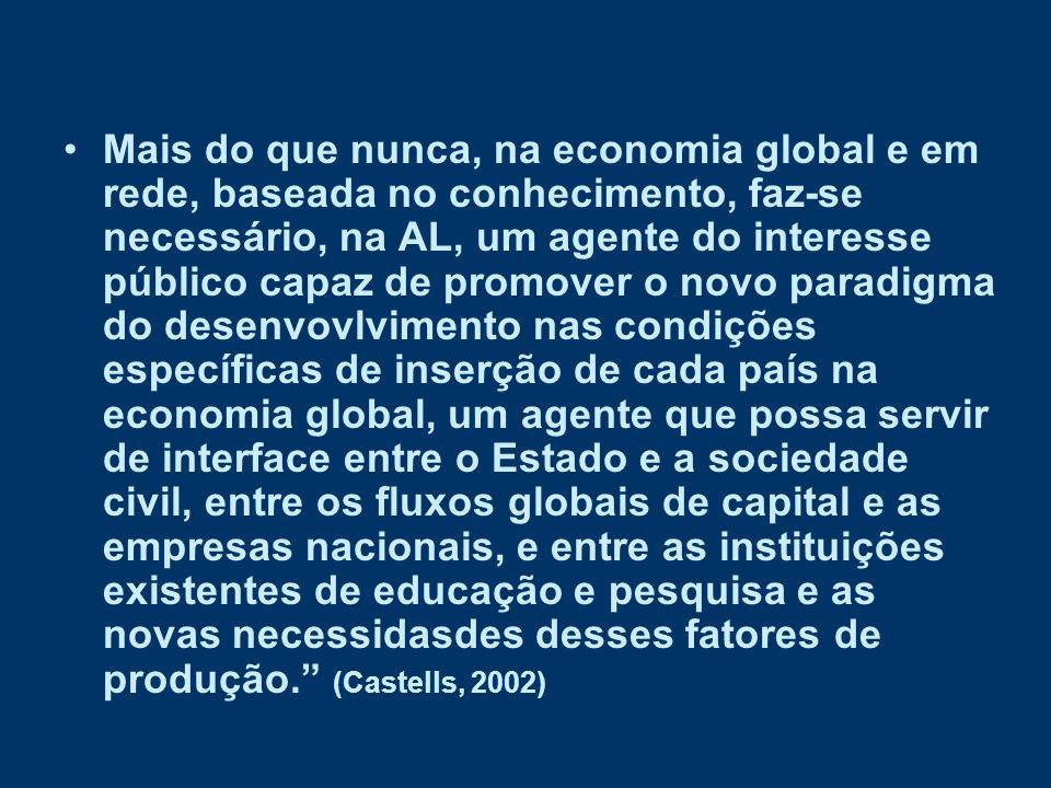 Mais do que nunca, na economia global e em rede, baseada no conhecimento, faz-se necessário, na AL, um agente do interesse público capaz de promover o