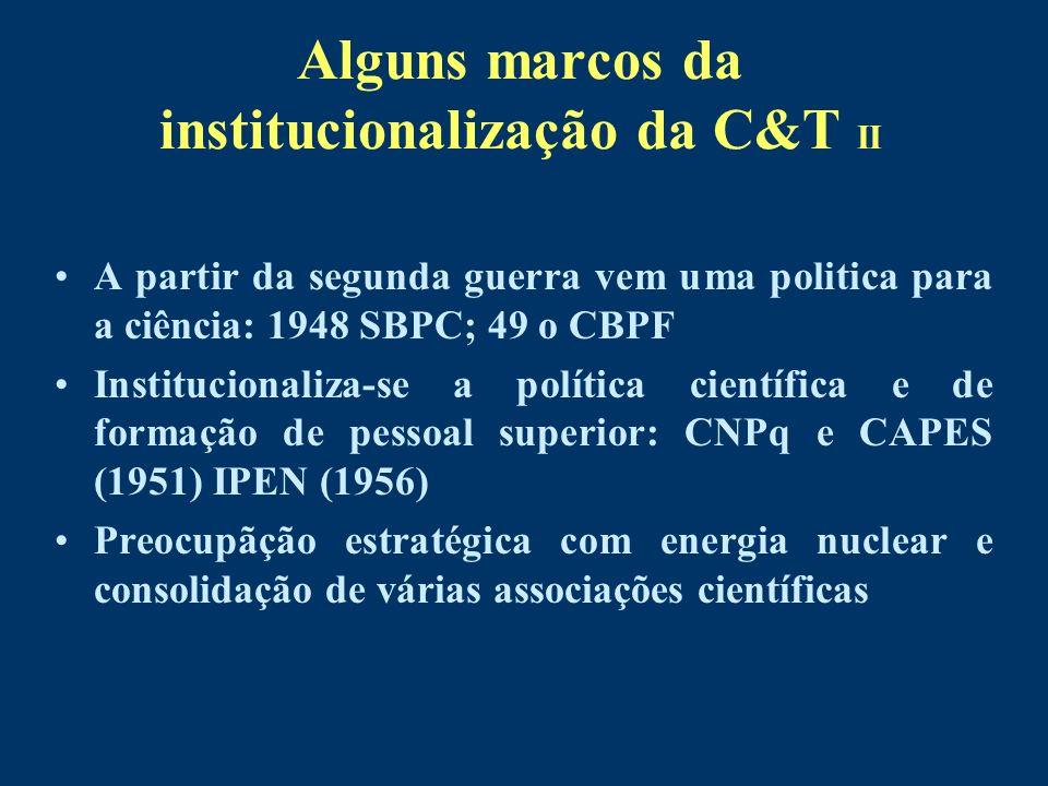 Alguns marcos da institucionalização da C&T II A partir da segunda guerra vem uma politica para a ciência: 1948 SBPC; 49 o CBPF Institucionaliza-se a