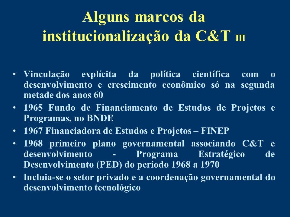 Alguns marcos da institucionalização da C&T III Vinculação explícita da política científica com o desenvolvimento e crescimento econômico só na segund