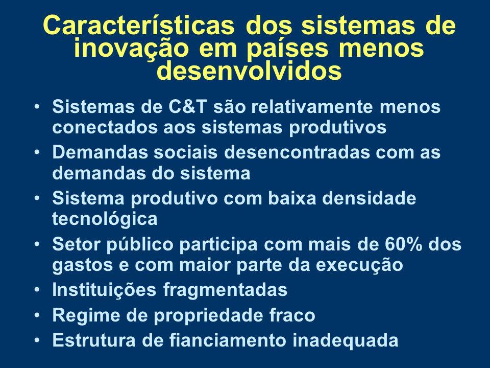 Alguns marcos da institucionalização da C&T III Vinculação explícita da política científica com o desenvolvimento e crescimento econômico só na segunda metade dos anos 60 1965 Fundo de Financiamento de Estudos de Projetos e Programas, no BNDE 1967 Financiadora de Estudos e Projetos – FINEP 1968 primeiro plano governamental associando C&T e desenvolvimento - Programa Estratégico de Desenvolvimento (PED) do período 1968 a 1970 Incluia-se o setor privado e a coordenação governamental do desenvolvimento tecnológico