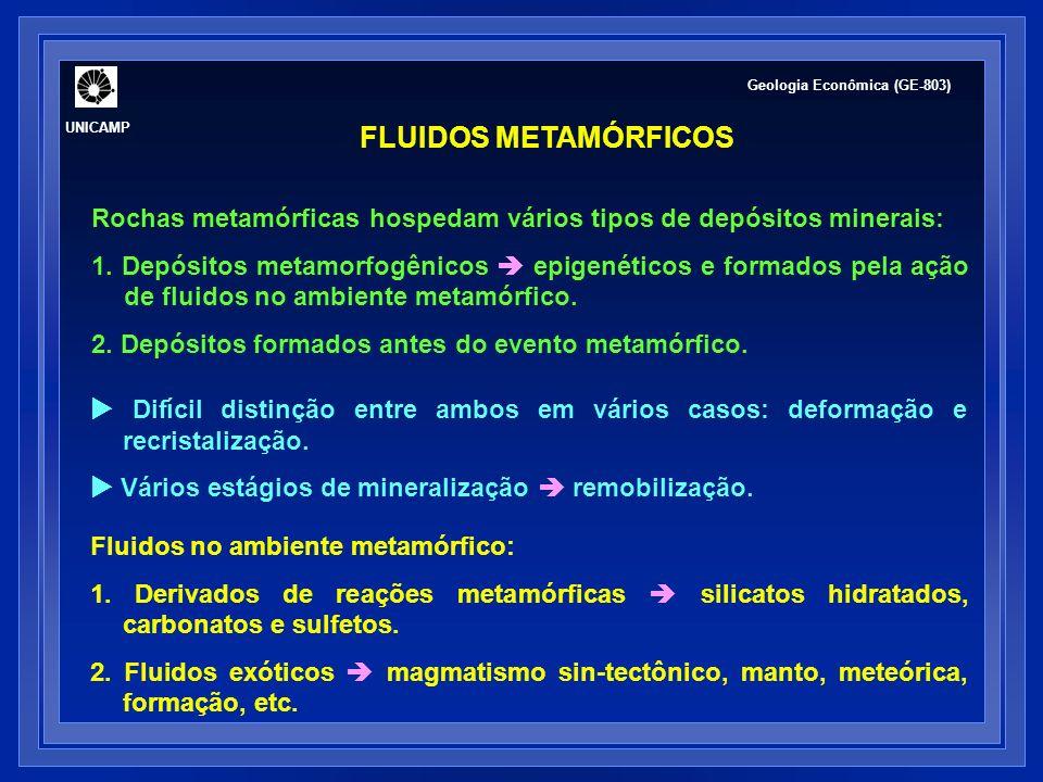GERAÇÃO DE FLUIDOS EM REAÇÕES METAMÓRFICAS ROCHAS PELÍTICAS - PSAMOPELÍTICAS argilo-minerais (15-20 % H 2 O) + clorita (10-12 % H 2 O) biotita + muscovita (3-4 % H 2 O) estaurolita + cordierita (2 % H 2 O) H 2 O + (CO 2 + CH 4 + N 2 + H 2 S), 5-6 % NaCl Cartwright & Oliver (2000) Geologia Econômica (GE-803) UNICAMP