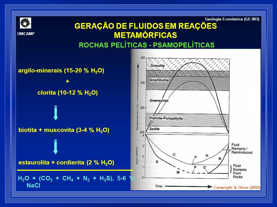 GERAÇÃO DE FLUIDOS EM REAÇÕES METAMÓRFICAS ROCHAS CÁLCIO-SILICATADAS Fluidos podem variar de dominantemente aquosos a ricos em CO 2, a depender de soluções intergranulares.